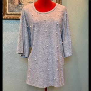 Lane Bryant pearl studded gray sweater size 22/24